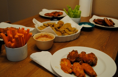 buffalo wings for dinner, fried pickles and celery/carrots