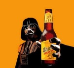 Darth Vader giving a Shiner Bock