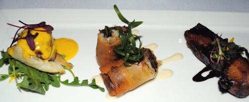 Strata appetizer duck confit port belly diver scallop