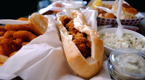 Shrimp n' Stuff Oyster Poboy Popcorn Shrimp Coleslaw chicken fried Steak