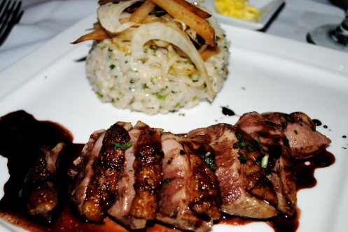 Cabernet Duck Herb risotto, Shiitake mushrooms, shaved fennel & pear salad, with black pepper Cabernet reduction