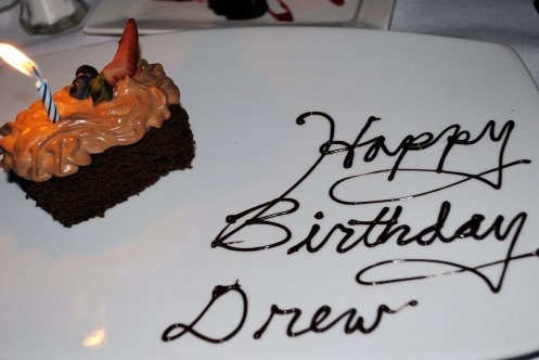 birthday cake from strata saying happy birthday drew