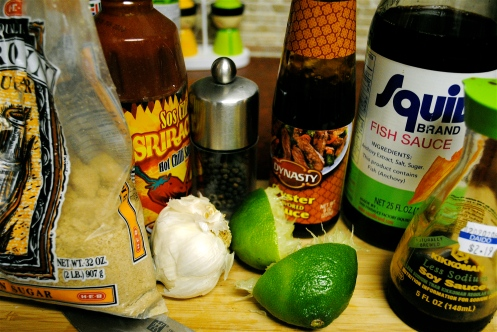 brown sugar, chili sauce, oyster sauce, fish sauce, soy sauce, garlic, lime, pepper