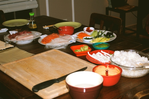 homemade sushi rolls supplies