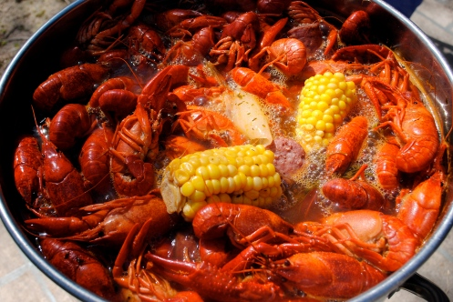 cajun crawfish boil with corn and potato