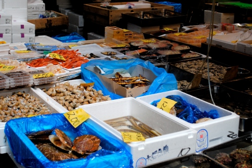 buckets of fresh seafood in tokyo