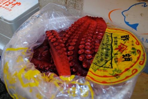 a bucket of fresh octopus, japan