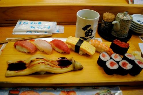 assortment of fine nigiri and a big piece of eel
